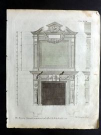 Langley 1777 Antique Architectural Print. Fireplace Cornice 93.
